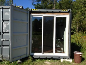 shipping container temp construction office door finish 0