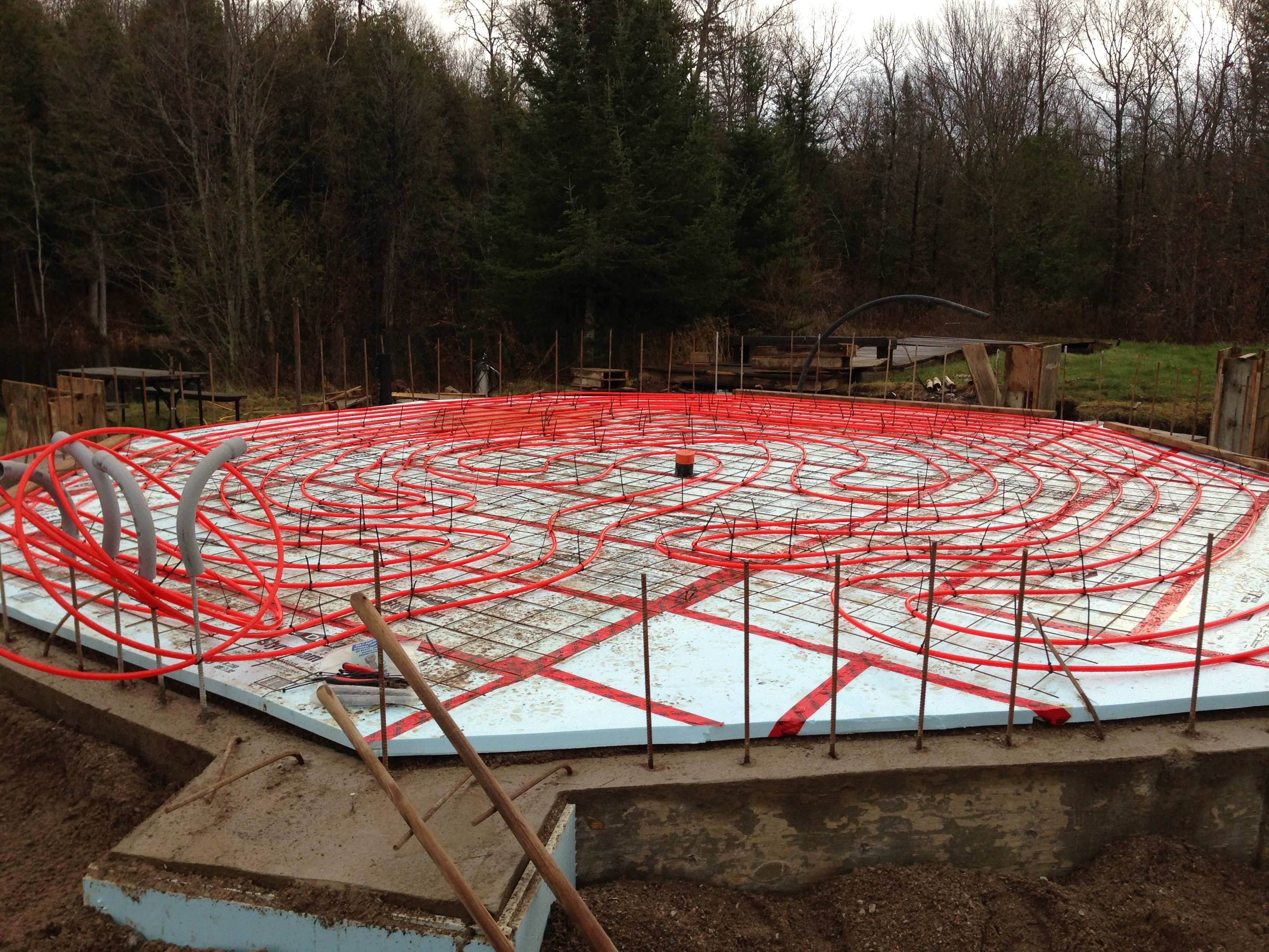 sea container cabin foundations 11 in floor heat piping