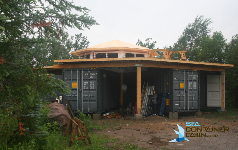 Shipping-Container-Cabin-Center-Roof-Framing-Complete-Workbench