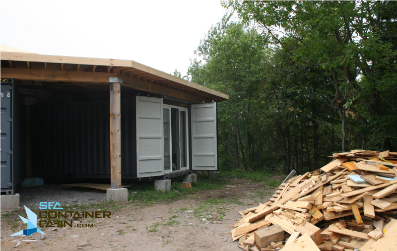 Shipping-Container-Cabin-External-Doors-Open-Workbench