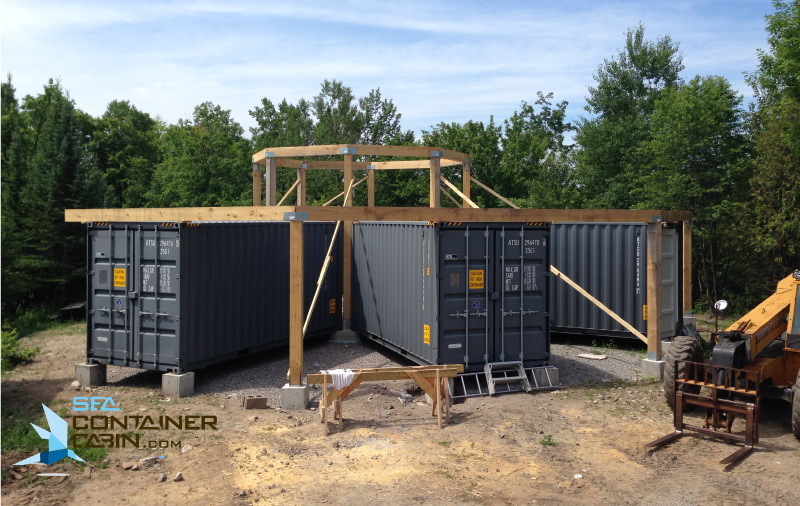 Shipping-Container-Cabin-External-Framing-of-Great-Room-Workbench