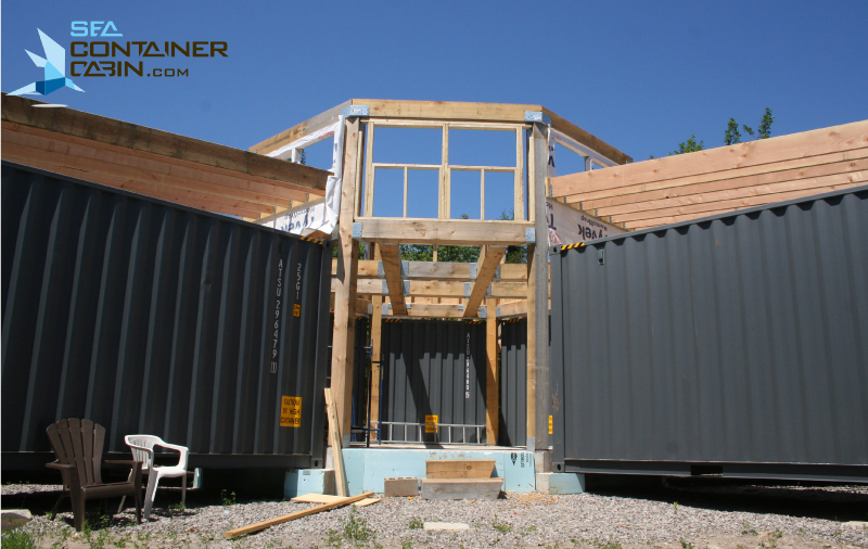 Sea Container Cabin framing of the shipping container cabin project - summer 2014