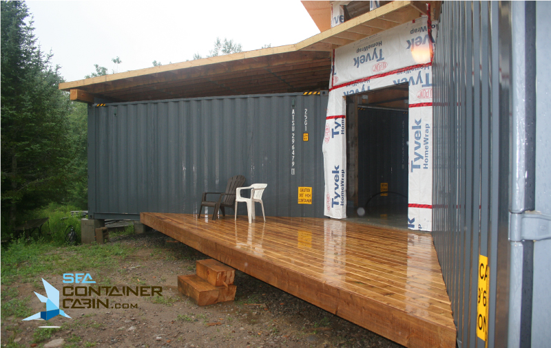 Shipping-Container-Cabin-Front-Entrance-Deck-Workbench